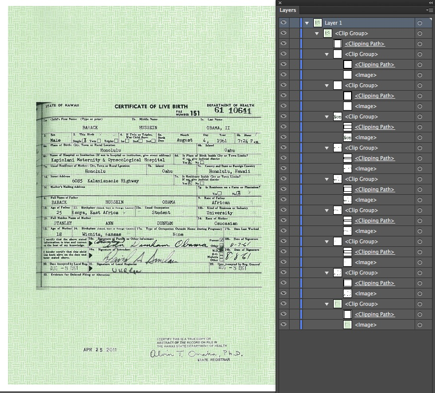 Discovering President Obamas Birth Certificate Forgery Using Adobe