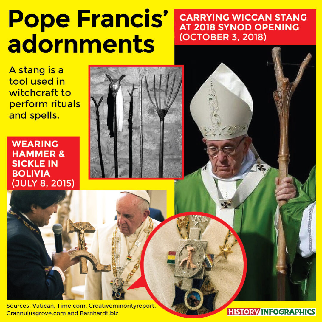 Pope Francis carrying wiccan stang and wearing hammer and sickle from Vatican video
