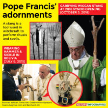 Pope Francis Carrying Witchcraft and Communist Symbols